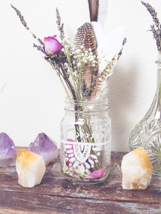 feathers jars and diy wedding favors on pinterest