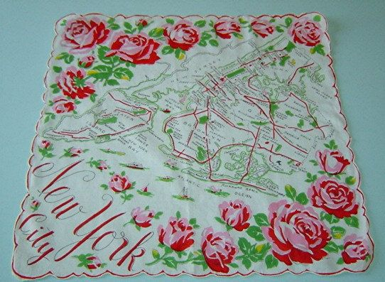 Vintage New York Hanky. Very colorful with lush, full, hot pink roses in each corner. Places of interest are shown on the hanky. Nostalgic. Made