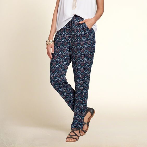 Girls Printed Rayon Twill Pants | An easy and drapey silhouette with pretty all-over pattern, comfortable through the legs with a drawstring waist | HollisterCo.com