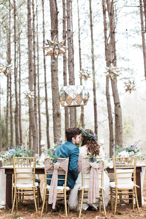 woodsy wedding with hanging star lights - photo by Jen & Chris Creed: