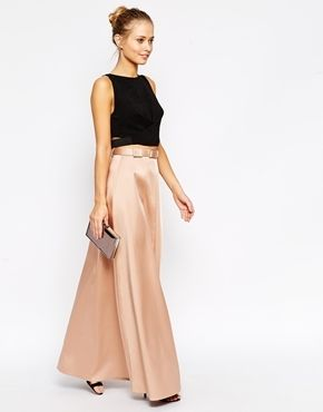 ASOS Premium Maxi Skirt in Bonded Satin with Belt - Nude
