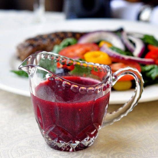 Fat Free Raspberry Balsamic Vinaigrette - using pureed fruit instead of oil as the base for salad dressings is a great way to up the flavor while eliminating the fat content. Oh so tasty too!