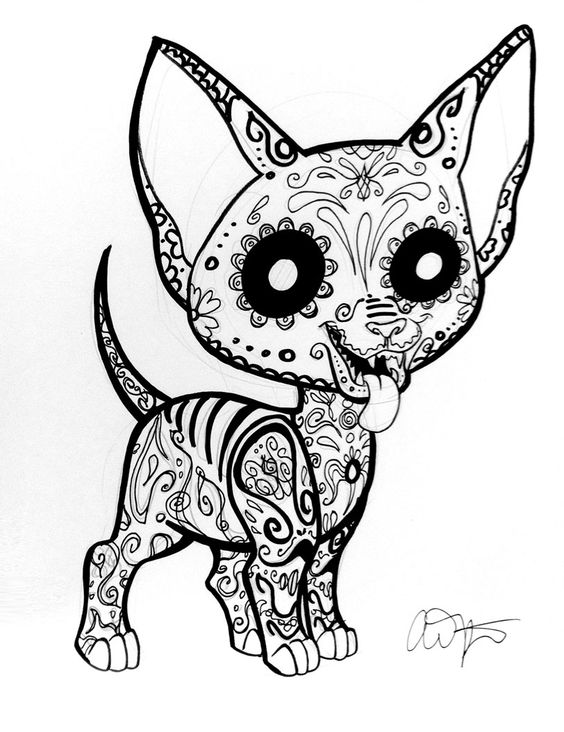 Day of the dead coloring pages dogs sugar skull for Chihuahua coloring pages