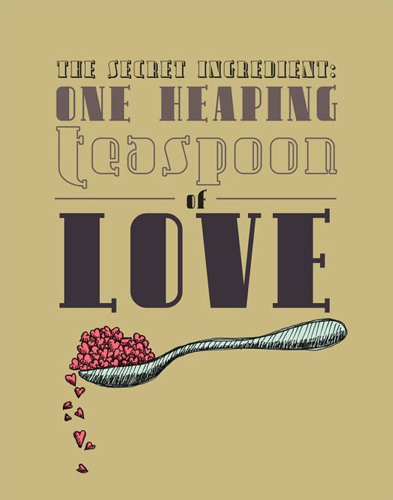 Teaspoon of love kitchen typography