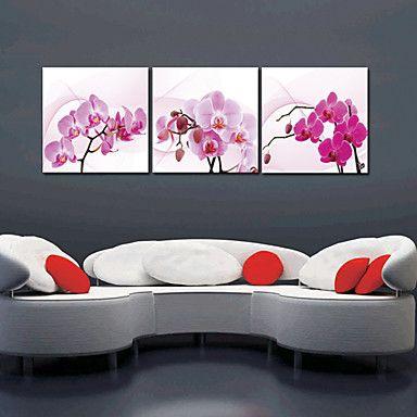 Op gespannen doek kunst Bloemen Orchid Set van 3 - EUR € 68.76