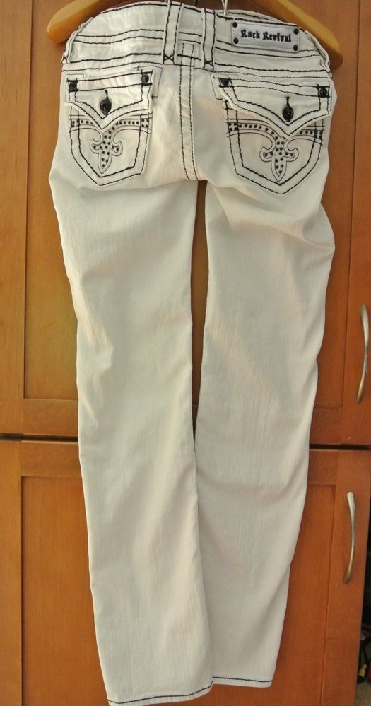Rock Revival White Jen Straight Jeans Women's size 29 Black ...