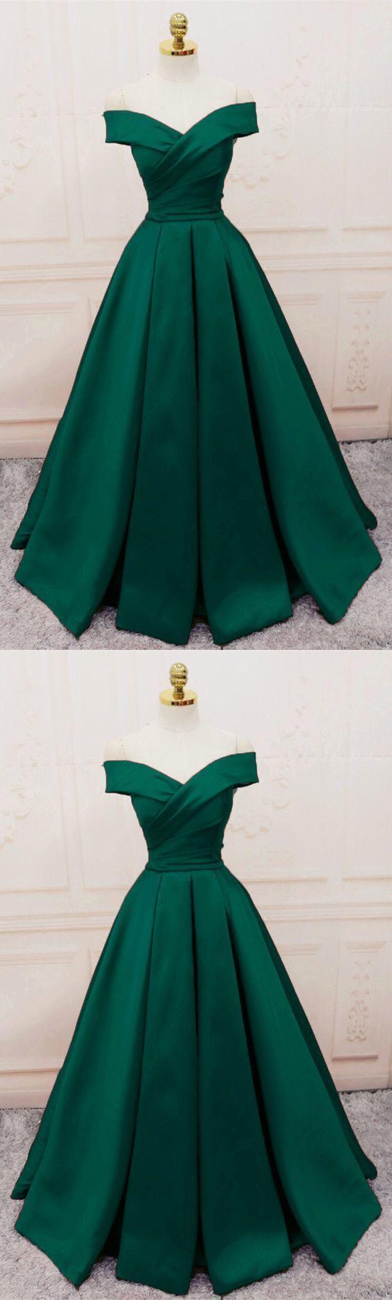 Simple V Neck Off Shoulder Prom Dresses Long Evening Gowns Green Prom Dress Satin Evening Dresses Satin Evening Gown