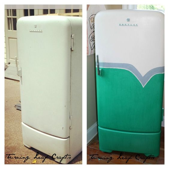 Old refrigerator brightened up with new paint