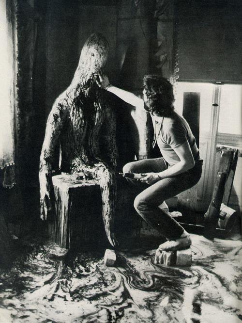 Carlo Rambaldi sur le tournage de Possession, Andrzej Zulawski, 1981.