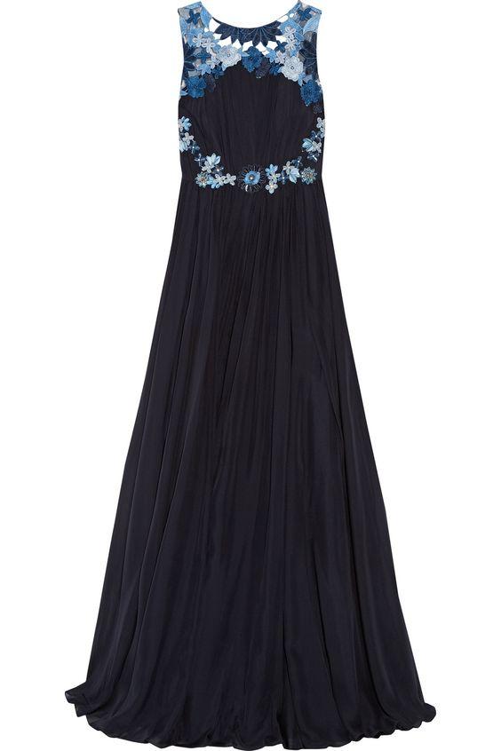 BADGLEY MISCHKA Embellished Silk-Chiffon Gown. #badgleymischka #cloth #gown