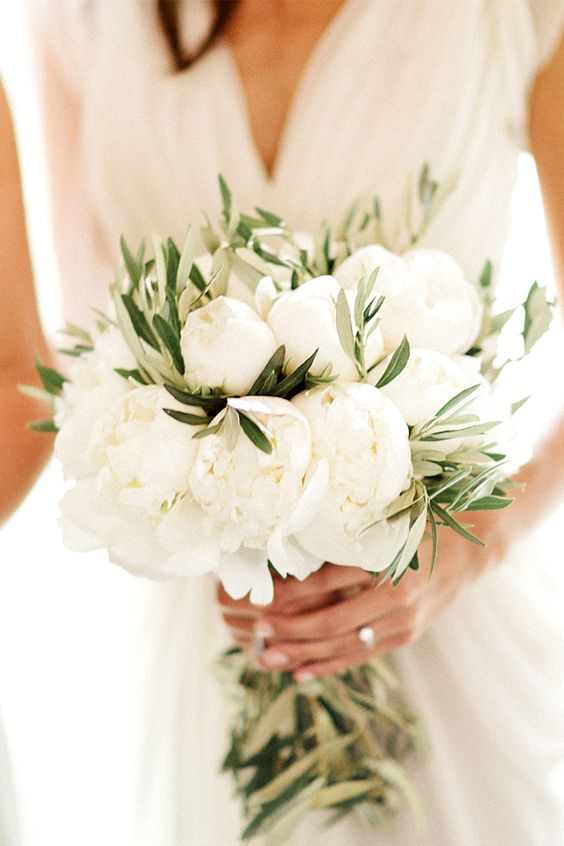 A bridal bouquet with pure white peonies accented with olive branches. Simplicity for a truly elegant bride. Wear with Tadashi Shoji's Avocet Gown to finish this clean regal look.