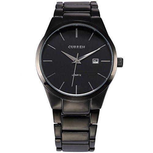XLORDX CURREN Männer Quarz-Armbanduhr mit Alu-Band Herren Jungen Wolfram Stahl Schwarz - http://on-line-kaufen.de/xlordx/xlordx-curren-maenner-quarz-armbanduhr-mit-alu