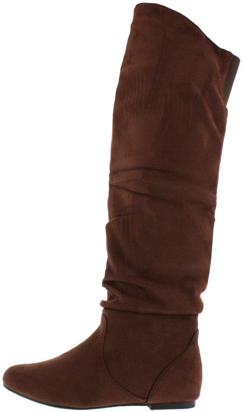 2351STKHOE BROWN KNEE HIGH SLOUCH HIGH-LOW BOOT ONLY $21.88