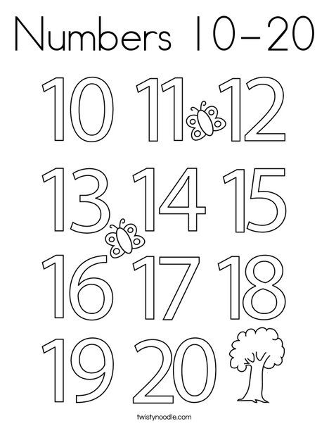 Numbers 10 20 Coloring Page Twisty Noodle Kindergarten Coloring Pages Numbers Preschool Printables Coloring Pages