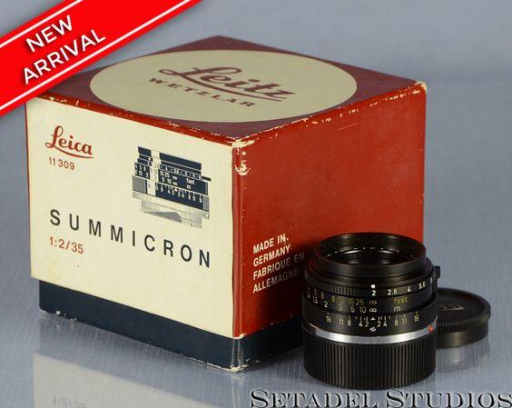 Leica 35mm Summicron F2 Black M2/M4 Lens w/ Box, Caps Clean