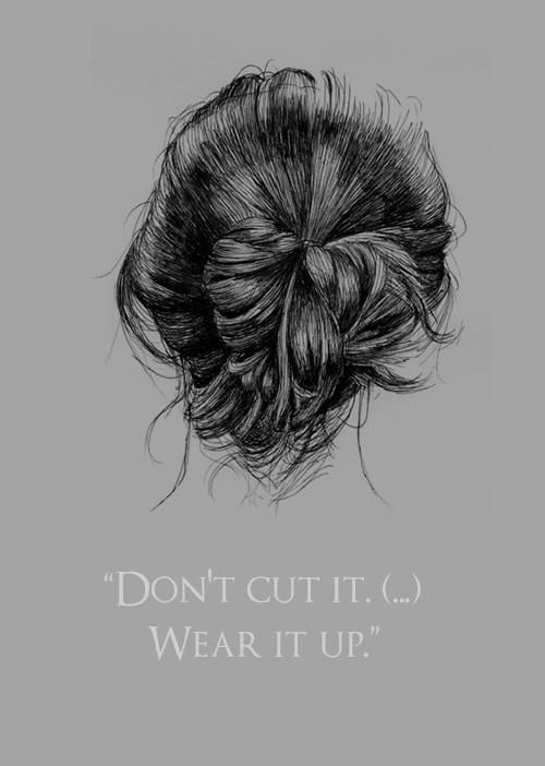 Dimitri told Rose to never cut her hair -- just wear it up. Probably the first time Rose realized Dimitri loved her hair.