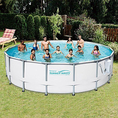 Summer Waves Elite 16 Metal Frame Above Ground Pool W Pump Electric Vacuum Green Lawn Garden Store In Ground Pools Above Ground Pool Summer Waves