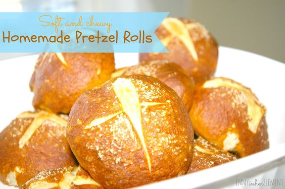 Soft and chewy pretzel rolls!