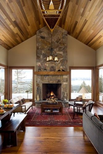 Living room diagonal cedar wall design pictures remodel - Lodge living room decorating ideas ...