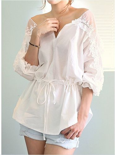 RoseandPose AW13 NEW IN Lacey White 3/4 Sleeve Shirt