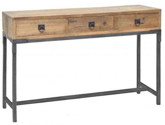 """Vintage Industrial / Baylor 3 Drawer Console Table / Zin Home 47""""w x 14""""d"""