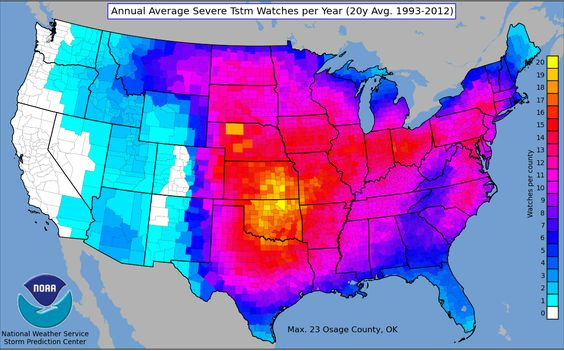 Tornado Map Weather Intel Pinterest Thunderstorms And - Average us tornado map national weather service
