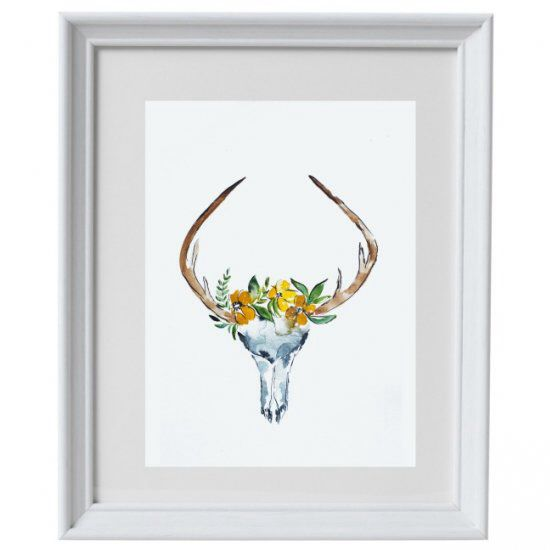 Free, printable deer skull with flowers watercolor. Come and get your copy today!