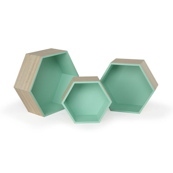 etag re hexagonale petit mod le vert rush la. Black Bedroom Furniture Sets. Home Design Ideas