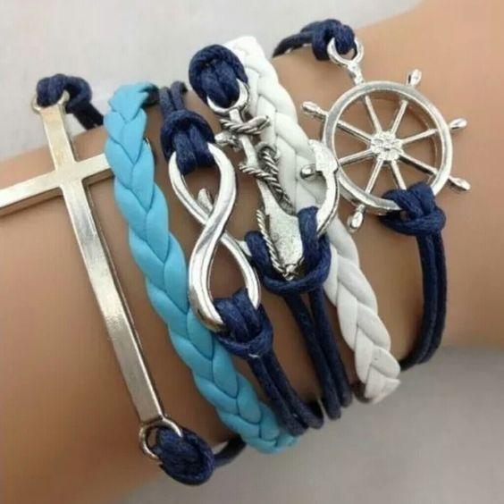 Navy Blue, Turquoise & White Leather Bracelet Nautical, infinity & cross Infinity Leather Charm Bracelet Jewelry Bracelets