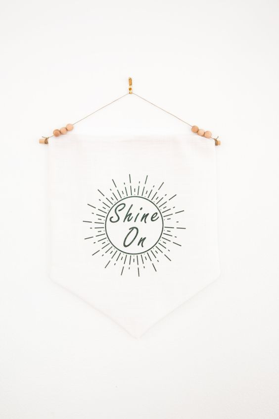 Shine On 12x14 Wall Pennant | Crazy Diamond | Motivational Art | Typography Home Decor | Inspirational Quote | Rise and Shine | Shimmer Gift