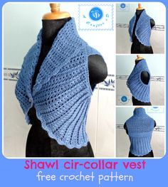Crochet shawl cir-collar vest. This crochet short vest pattern has a nice mix match of old and new trends. While the shawl collar gives a classic touch, the ribbed texture adds a modern look.