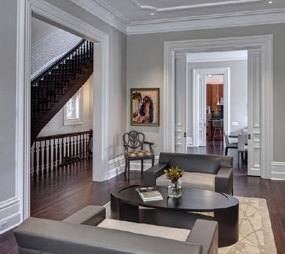 What Color Wood Floor With Gray Walls: Gray Walls, Pocket Doors And White Trim On Pinterest
