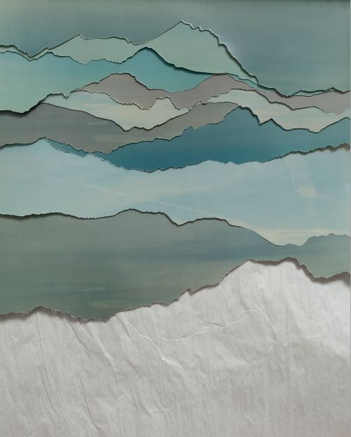 An inspiration in torn paper edges ...perhaps a landscape? Could be turned up the other way for a different view.