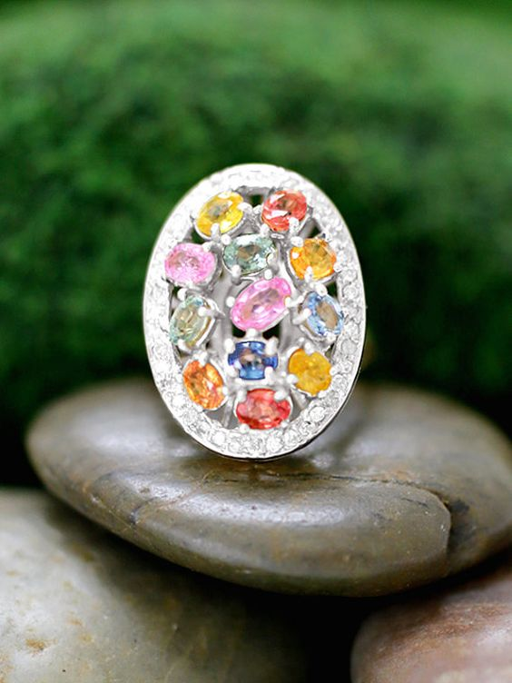Multicolor Sapphire and Diamond Cocktail Ring  by stonesandgold.  $1,386.26