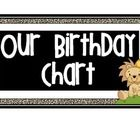 Make a jungle themed birthday chart to use again and again.  Print out pages, cut and glue onto a sturdy posterboard and laminate.  Take pictures o...