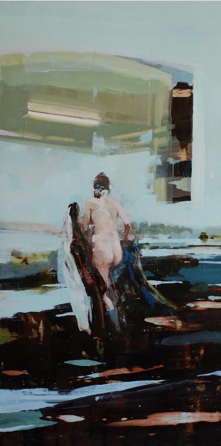 "Kitchen Landscape48"" x 24"", oil on wood"