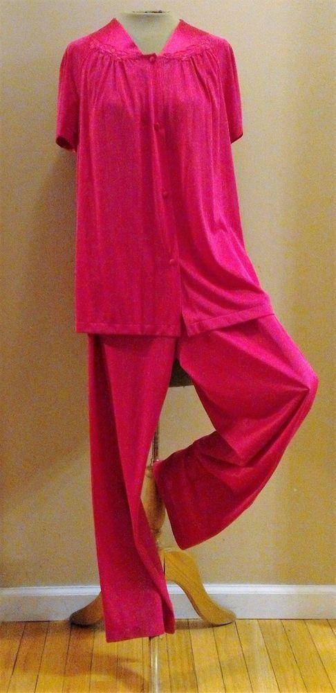 Details About Vtg Womens Pajamas Medium VANITY FAIR Short Sleeve 2