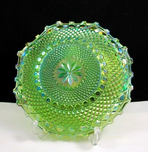 Indiana Glass Crimped Hostess Plate in Lime Green Carnival