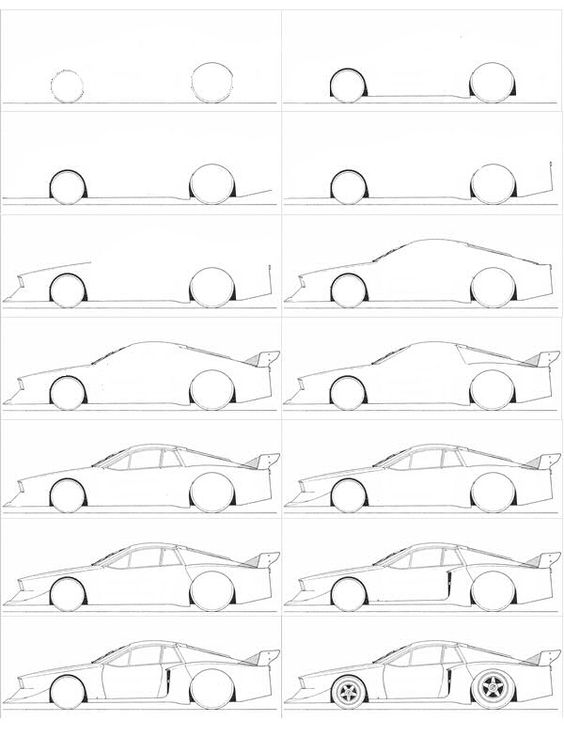 comment dessiner une voiture facilement dessins pinterest comment et simple. Black Bedroom Furniture Sets. Home Design Ideas
