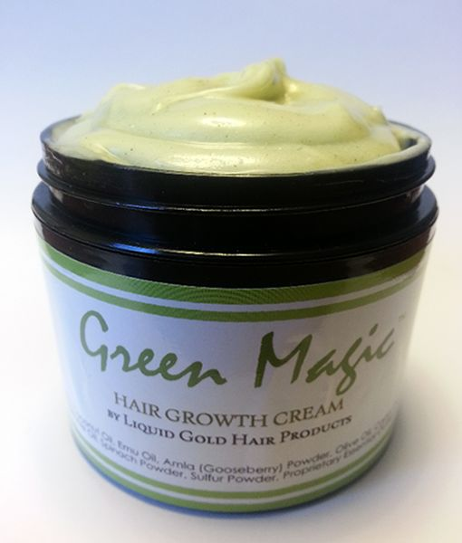 Green Magic ™is the BEST hair growth aide to hit the market. We have blended the powerful growth promoting ingredients of our best selling oils with nutrient rich natural hair butters to create a pomade like hair cream which promises to deliver magical results. WORKS FOR ALL HAIR TYPES :)