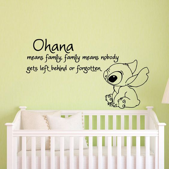 Ohana Means Family Means Nobody Get Left Behind or Forgotten Lilo and Stitch Wall Decal Vinyl Sticker- Wall Decals Nursery Kids Bedroom