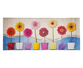 Passatoia da cucina in misto ciniglia di cotone Flowers - 60x220 cm