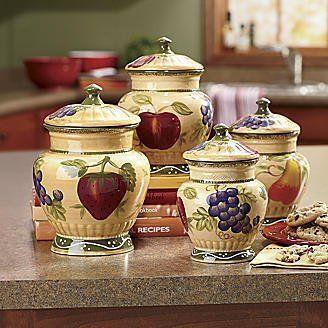 4pc italian canister set tuscany fruit decor by ack 69 for Italian kitchen set