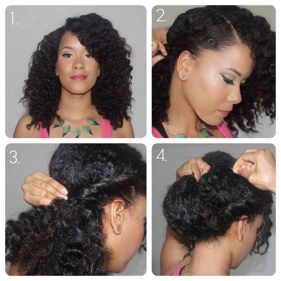 Samantha Harris Wavy Low Chignon On Natural Hair Tutorial