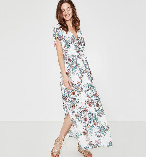 Longue Robe Imprimee Imprime Ecru Promod Robe Longue Promod Mode Printemps Ete 2018 Promod Robe