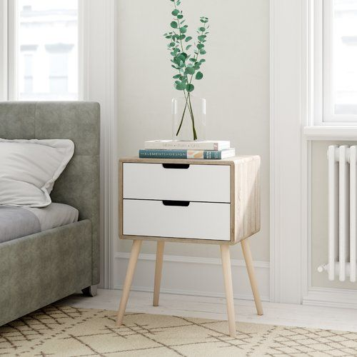 Greta 2 Drawer Bedside Table White Bedside Table Bedside Table
