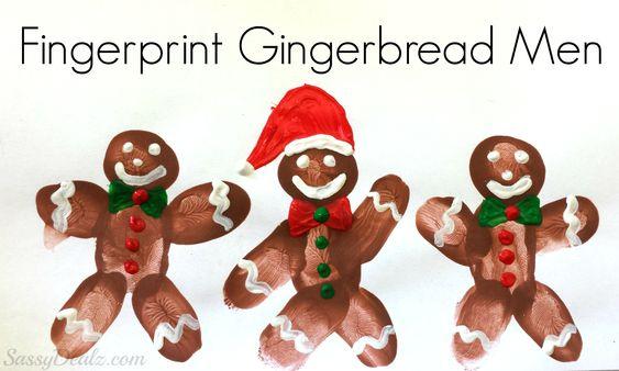 DIY Fingerprint gingerbread man craft for kids!  Lots of other fingerprint art ideas on this website.