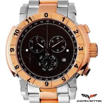 NEW AUTHENTIC CORVETTE CHRONO CRYSTAL STAINLESS STEEL DAY/DATE RETAIL $1,500! Less than $230!!!