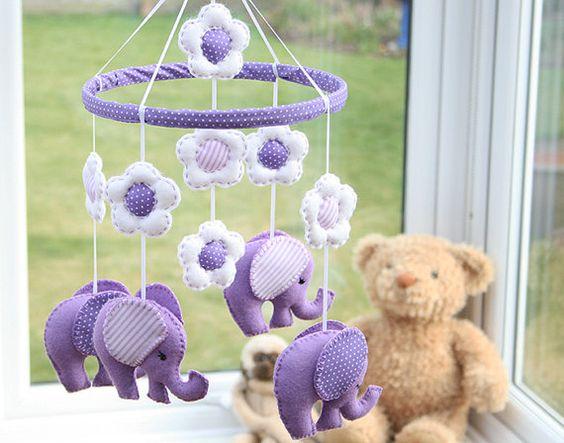 Polkadot Lilac   Elephant Nursery Mobile  MADE TO by FlossyTots