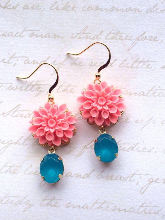 Hot Pink Flower Vintage Misty Ocean Blue Glass Drop by NestBlossom